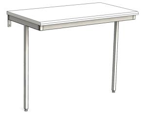 Väggfast arbetsbord fast höjd utan tvärstag