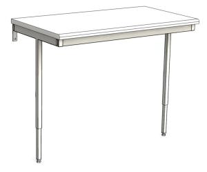 Väggfast arbetsbord justerbar höjd utan tvärstag